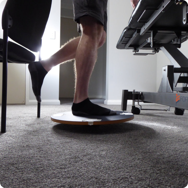 Proprioceptive ankle rehab with a wobble/balance board